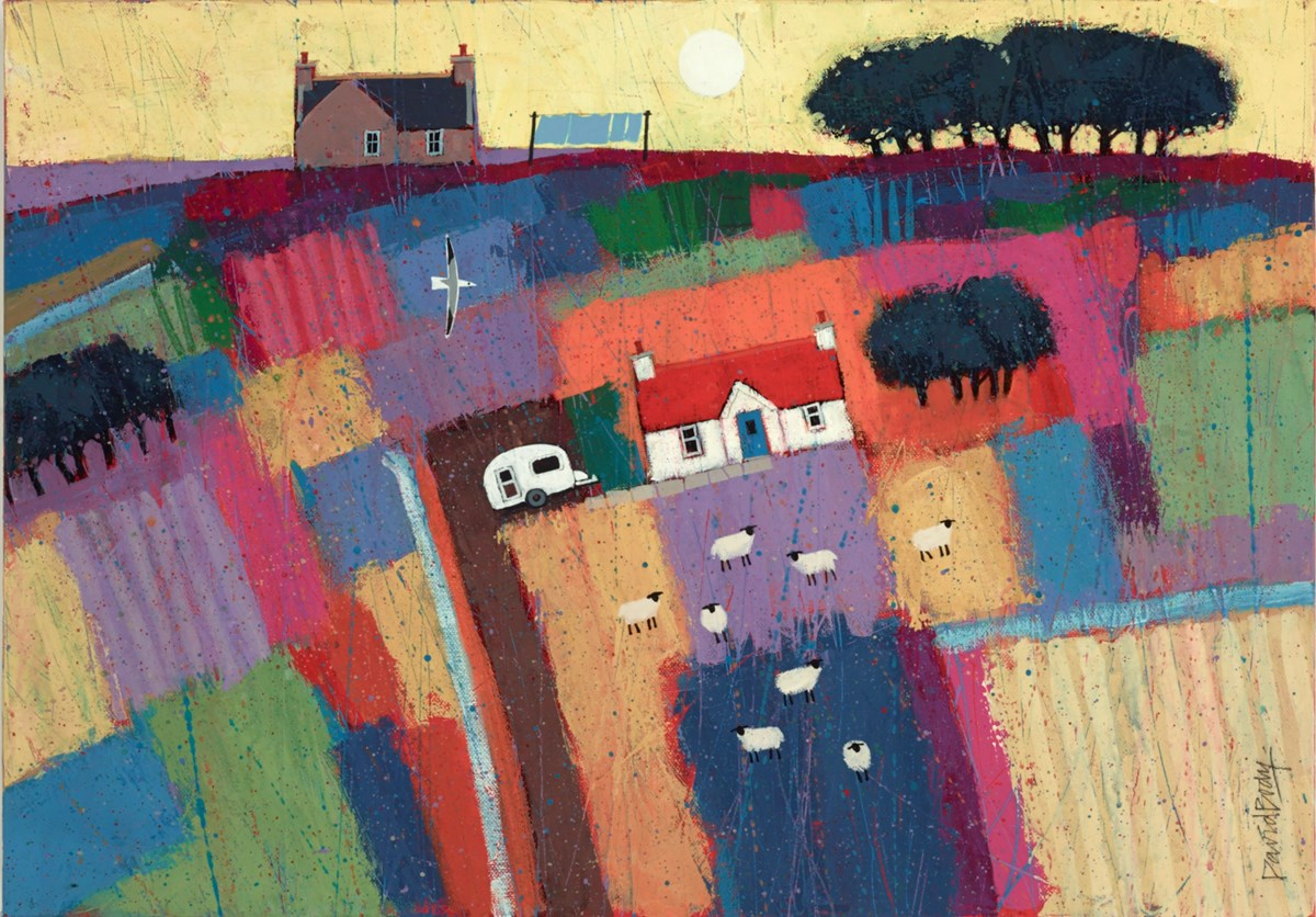 House With Caravan by david body -  sized 24x17 inches. Available from Whitewall Galleries